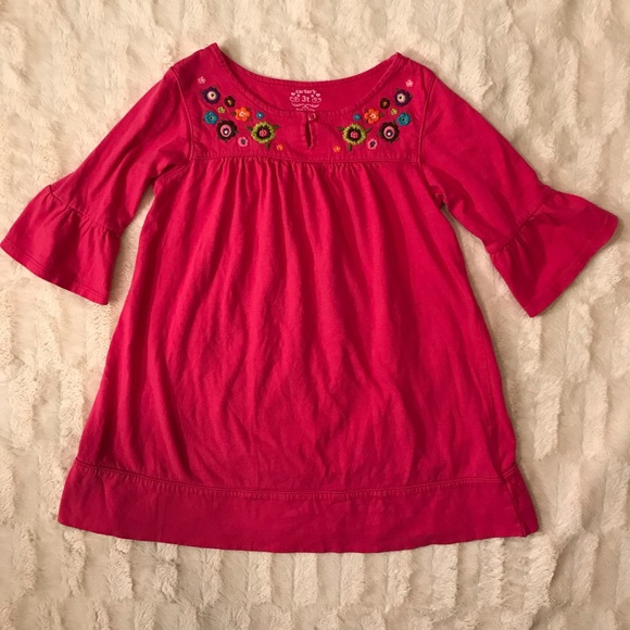 Carter's   pink cotton dress embroidered f…